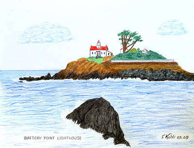 Seacoast Drawing - Battery Point Lighthouse by Frederic Kohli