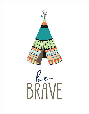 Tribal Digital Art - Be Brave by Jaime Friedman