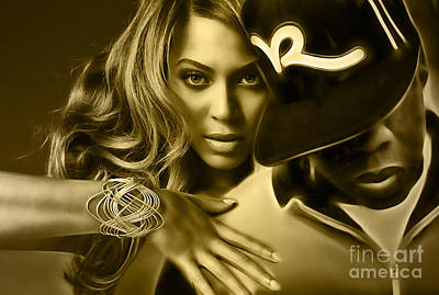 Beyonce Jay Z Collection Print by Marvin Blaine