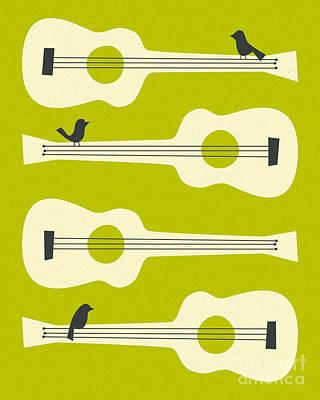 Mint Digital Art - Birds On Guitar Strings by Jazzberry Blue