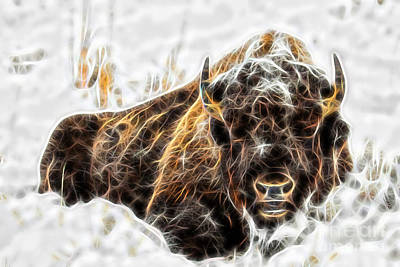 Poster Mixed Media - Bison Collection by Marvin Blaine