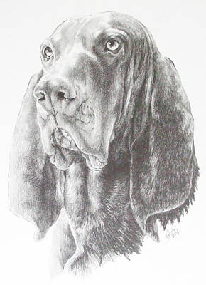 Purebred Drawing - Black And Tan Coonhound by Barbara Keith