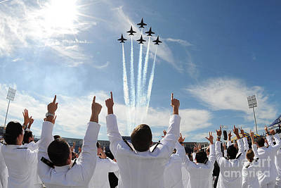Blue Angels Fly Over The Usna Graduation Ceremony Print by Celestial Images