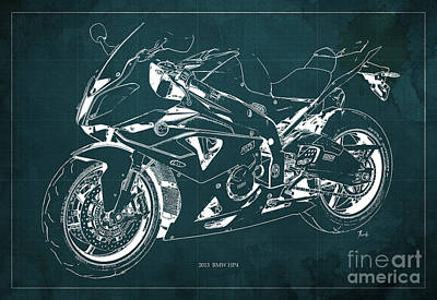 Bmw Hp4 2013 Blueprint Motorcycle, White Line, Vintage Background Print by Pablo Franchi
