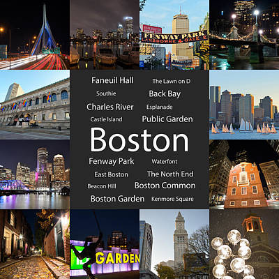 Charles Street Bridge Digital Art - Boston Ma Collage by Toby McGuire