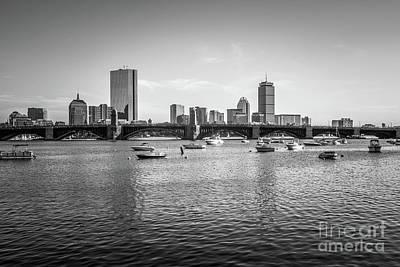 Longfellow Photograph - Boston Skyline Black And White Photo by Paul Velgos