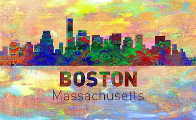 Phoenix Digital Art - Boston Skyline - Usa City by Michael Vicin