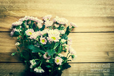 Daisies Photograph - Bouquet Of Fresh Spring Flowers On Rustic Wood by Michal Bednarek