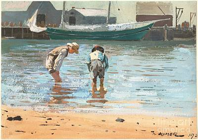 Boy Painting - Boys Wading by Celestial Images