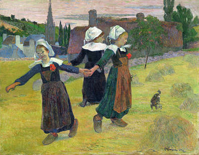Puppies Painting - Breton Girls Dancing, Pont-aven by Paul Gauguin