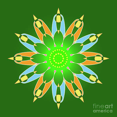 Abstracto Painting - Bright Abstract Mandala On Green Background by Pablo Franchi