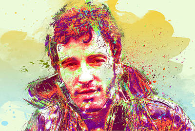Singer Digital Art - Bruce Springsteen by Elena Kosvincheva