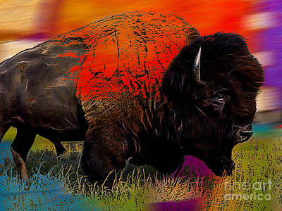 Bison Mixed Media - Buffalo Collection by Marvin Blaine