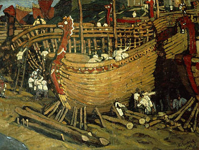 Port Painting - Building The Ships by Nicholas Roerich