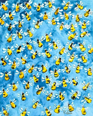 Bees Painting - Busy, Busy Bee by Roleen Senic