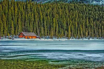 Cabin On Lake Louise Print by Jay Toor