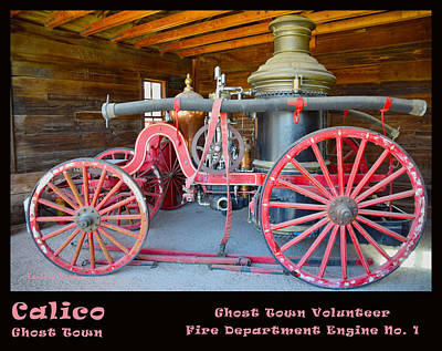Calico Ghost Town Fire Engine Print by Barbara Snyder