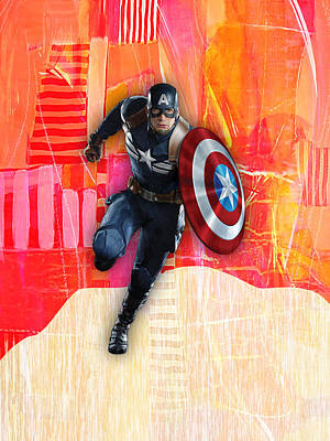 America Mixed Media - Captain America Collection by Marvin Blaine