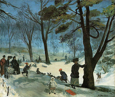 Baby Carriage Painting - Central Park In Winter  by William Glackens