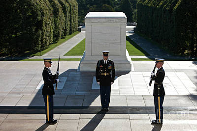 Full Length Photograph - Changing Of Guard At Arlington National by Terry Moore
