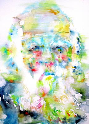 Darwin Painting - Charles Darwin - Watercolor Portrait by Fabrizio Cassetta