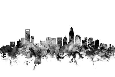 Charlotte Digital Art - Charlotte North Carolina Skyline by Michael Tompsett