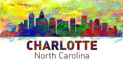 Charlotte Digital Art - Charlotte Skyline - Usa City by Michael Vicin