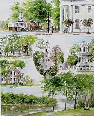 Historical Buildings Painting - Cheraw Collage by Gloria Turner