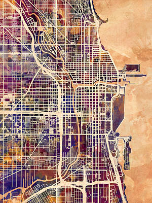Watercolor Map Digital Art - Chicago City Street Map by Michael Tompsett