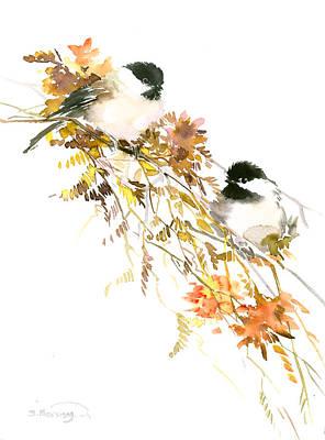 Chickadee Digital Art - Chickadees by Suren Nersisyan