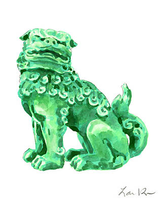 Temple Painting - Chinese Foo Dog - Fu Guardian Lion Jade Green Carved Asian Antique Chinoiserie by Laura Row