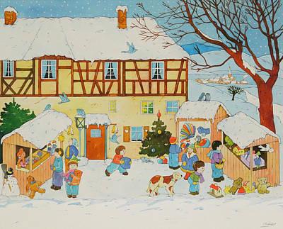 Christmas Tree Drawing - Christmas Market by Christian Kaempf