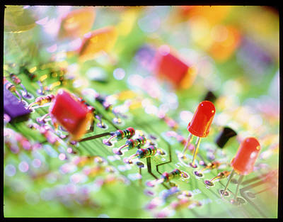 Integrated Photograph - Close-up Of An Electronic Circuit Board. by Tek Image