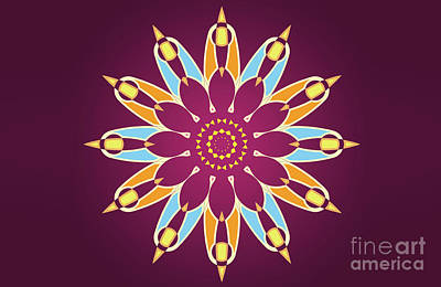 Abstracto Painting - Colorful Abstract Star On Purple Background by Pablo Franchi