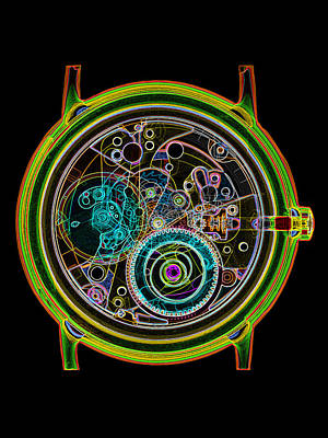 Coloured X-ray Of A 17-jewel Wrist-watch Print by D. Roberts
