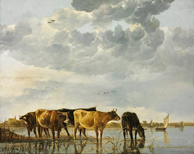 Rustic Painting - Cows In A River by Aelbert Cuyp