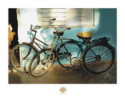Bicycling Mixed Media - 2 Cuban Bicycles by Bob Salo
