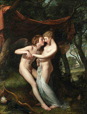 Psyche Painting - Cupid And Psyche In The Nuptial Bower by Hugh Douglas Hamilton