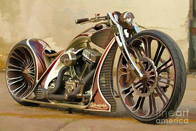 Two Tailed Mixed Media - Custom Motorcycle by Garland Johnson