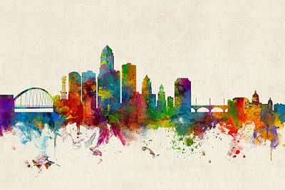 Des Moines Iowa Skyline Print by Michael Tompsett