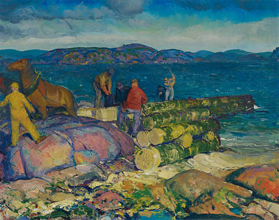 Maine Mountains Painting - Dock Builders by Mountain Dreams