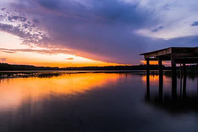 Orange Photograph - Dock Sunset by Parker Cunningham