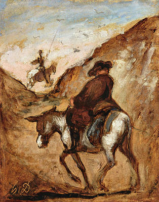Don Quixote Painting - Don Quixote And Sancho Panza by Honore Daumier