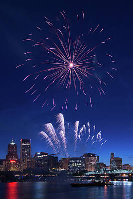 Downtown Fireworks Print by Patrick Campbell