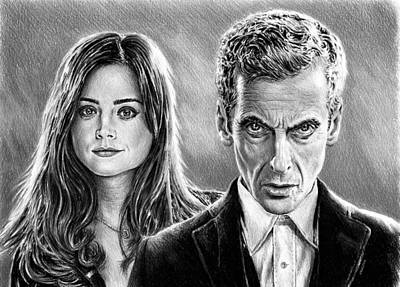 Doctor Who Drawing - Dr Who And Clara by Andrew Read