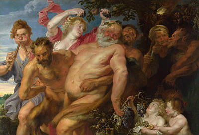 Nude Painting - Drunken Silenus Supported By Satyrs by Anthony van Dyck