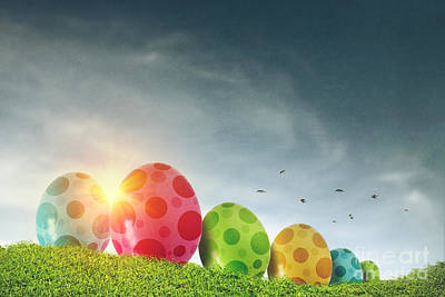 Easter Eggs Print by Carlos Caetano
