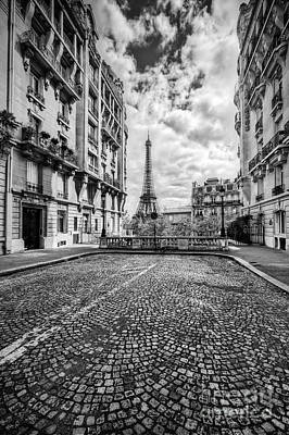 Pavement Photograph - Eiffel Tower Seen From The Street In Paris, France. Black And White by Michal Bednarek