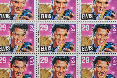 Elvis Commemorative Stamp January 8th 1993 Painted  Print by Rich Franco