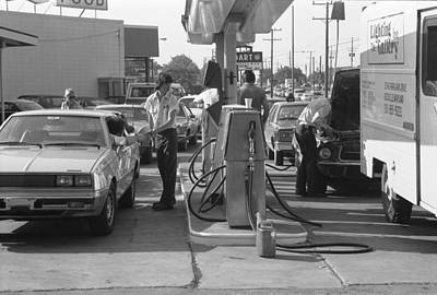 Anticipation Photograph - Energy Crisis Gasoline Lines by Underwood Archives